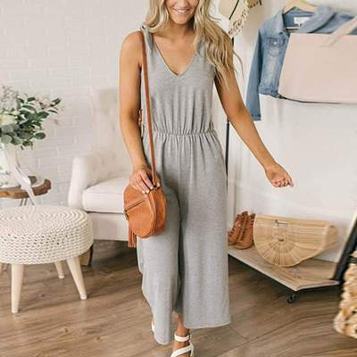 Casual V Neck Sleeveless Pure Colour Pleated Jumpsuit