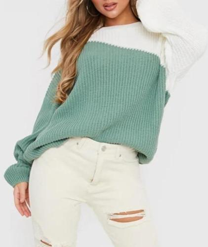 2020 spring new explosion style European and American style loose round neck fashion stitching knitted top  girls sweaters
