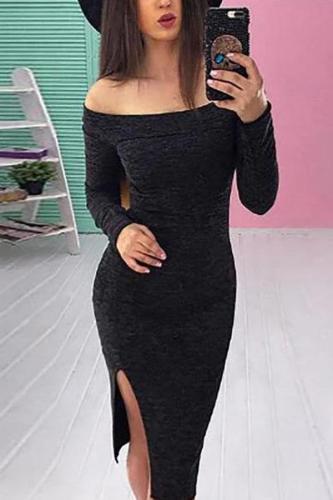 Off Shoulder  Side Slit  Bust Darts  Plain Bodycon Dresses