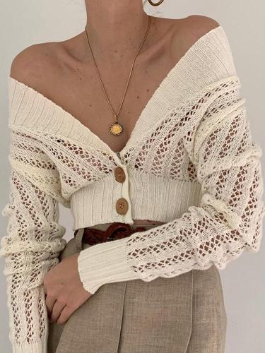 Sexy Solid Color Deep V Openwork Top