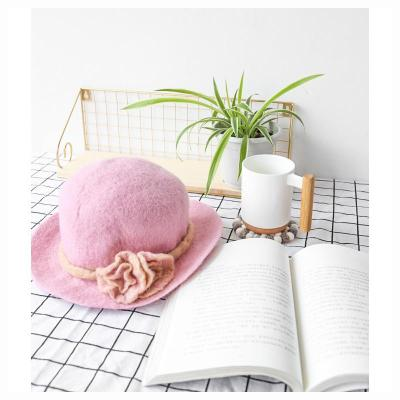 Handmade Wool Felt Pink Hat Autumn/winter Dome Short Eaves Hat.