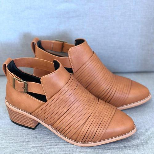 Women PU Booties Casual Comfort Adjustable Buckle Plus Size Shoes