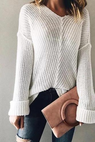 Brief V Neck Long Sleeve Pure Colour Hollow Out Sweater