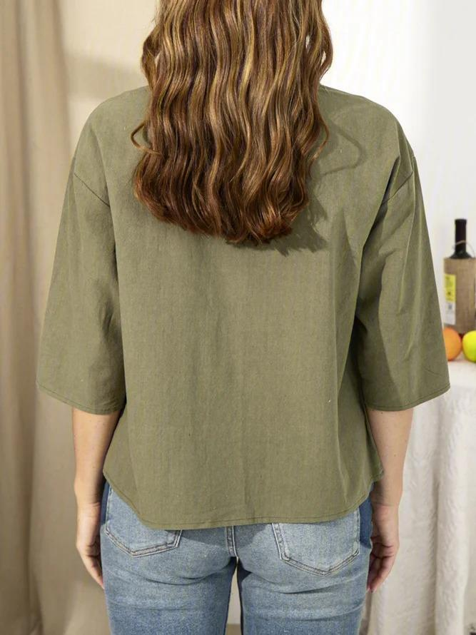 Cotton-Blend Sleeve Shirts & Tops