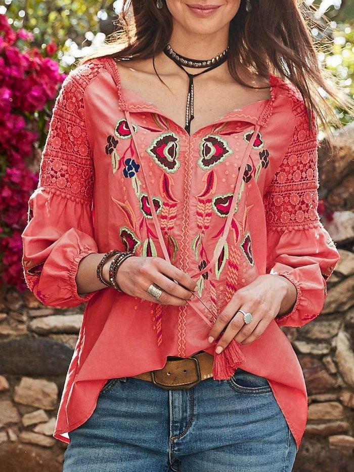 Patchwork V Neck Long Sleeve Shirts & Tops
