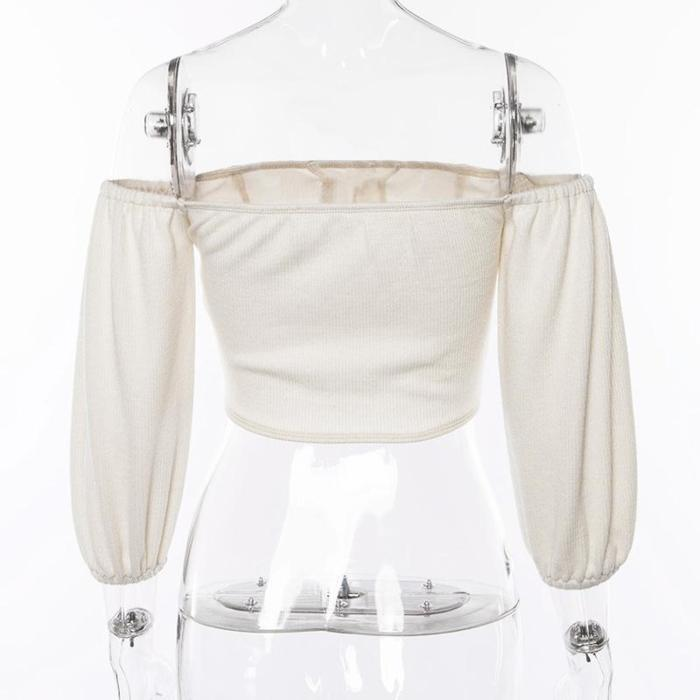 Sexy Off Shoulder Slash Neck Long Sleeve Button Knitted Tops