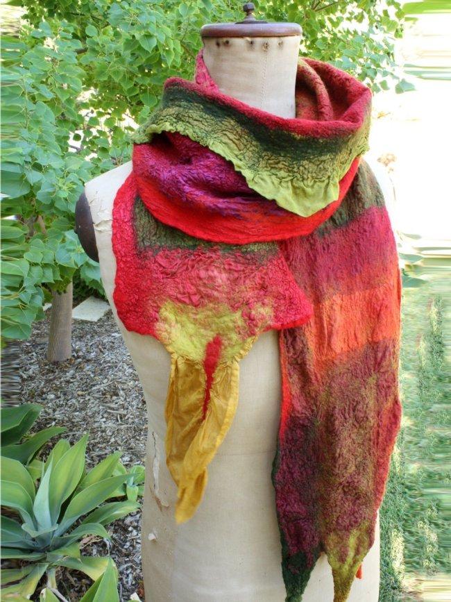Red Color-Block Vintage Ombre/tie-Dye Scarves & Shawls