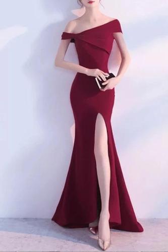Fashion Boat Neck Pure Colour Slit Maxi Dress