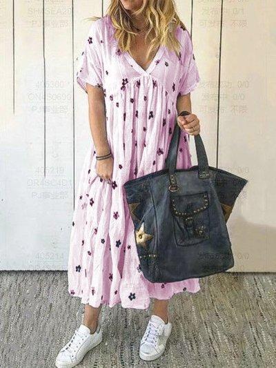 Short Sleeve V Neck Cotton Dresses