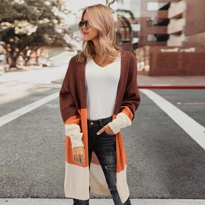 Fashion Tri-Color Stitching Sweater Cardigan