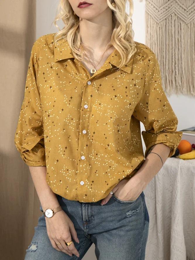 Yellow Shirt Collar Star Long Sleeve Cotton Shirts & Tops