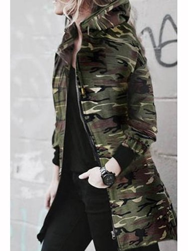 Casual Long Sleeve Camouflage Coat