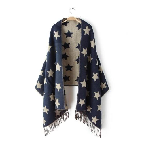Wool Winter Scarf Women Scarves Five-Pointed Star Blanket Long Cashmere Scarf
