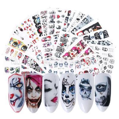 25pcs Halloween Designs Water Transfer Stickers Skull Head Vampire Rose Nail Art Decals Nail Art DIY Decorations