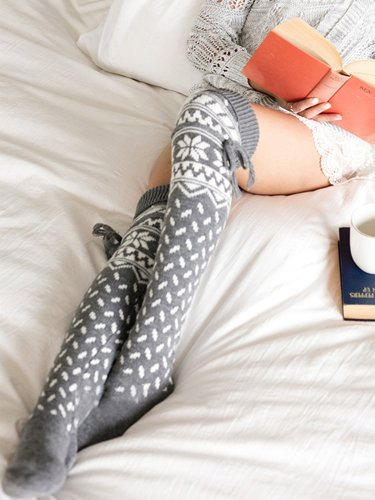 Christmas Print Thigh-high Long Stockings