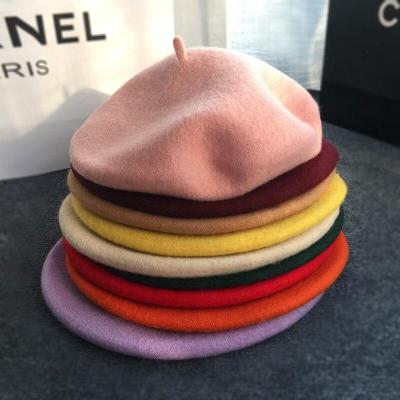 100% Wool Solid Color Beret Caps Lady Spring Winter Warm Berets Hat Female Bonnet Women Fashion Painter Style Walking Hat