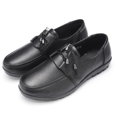 Women Lace-up Daily Spring/Fall Wedge Heel Genuine Leather Loafers