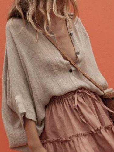 Khaki V Neck Plain 3/4 Sleeve Shift Shirts & Tops