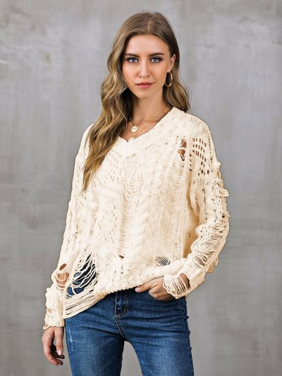 V Neck Casual Long Sleeve Ripped Sweaters