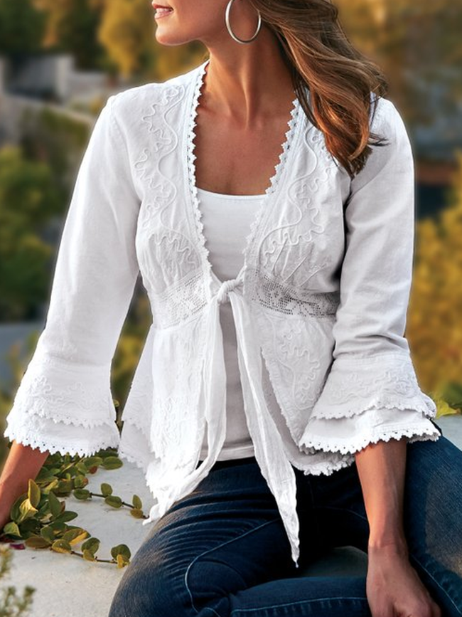 White Casual Cotton-Blend Outerwear
