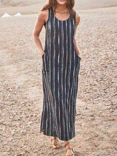 Sleeveless Striped Casual Dresses