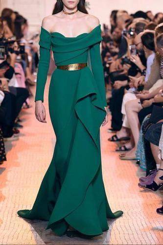 Elegant Fashion Slim Plain Off Shoulder Long Sleeve Evening Dress