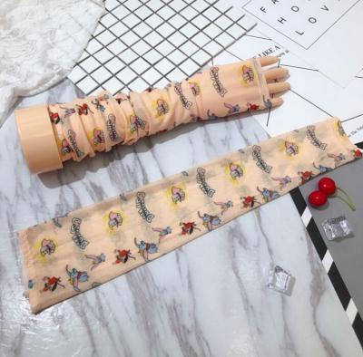 Women's spring summer thin Uv protection breathable fingerless gloves female sunscreen print long driving glove R1515