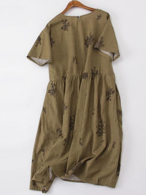 Cotton A-Line Short Sleeve Crew Neck Casual Dresses