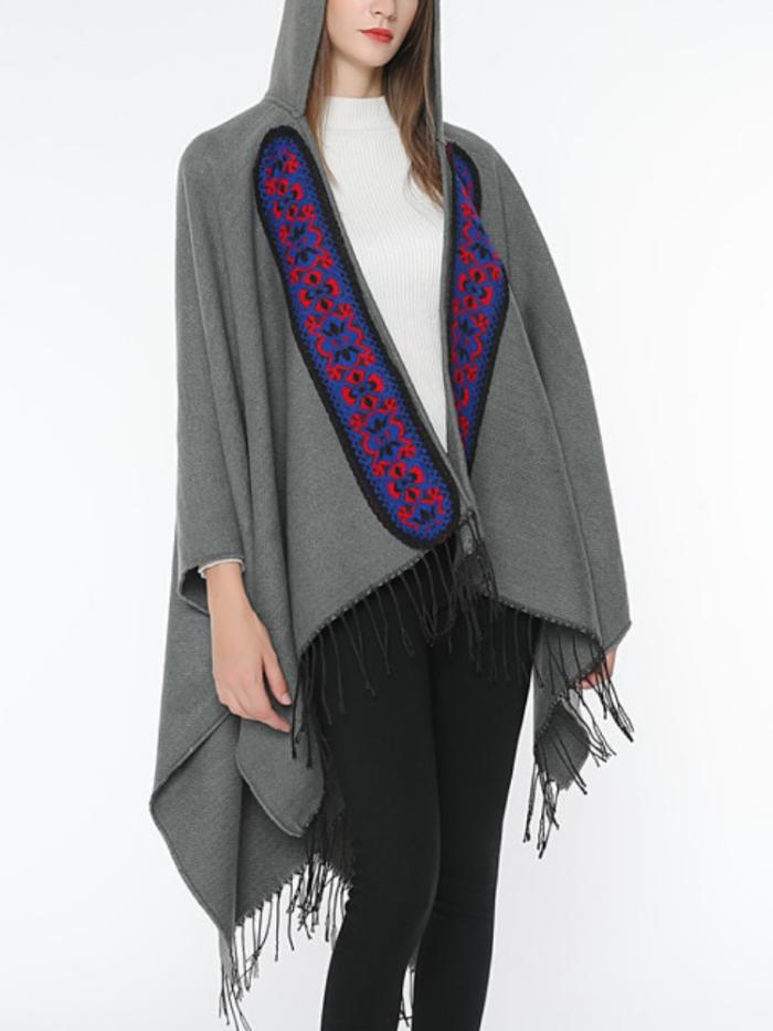 Hoodie Solid Vintage Paneled Winter Cardigans Wool Blend  Woven Cape