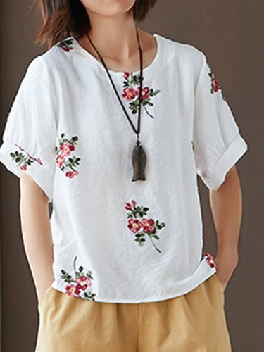 Women Short Sleeve Round Neck Vintage Embroidered Floral Casual Tops