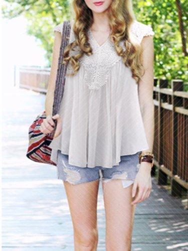 Casual V-Neck Chiffon Guipure lace Plus Size Blouse