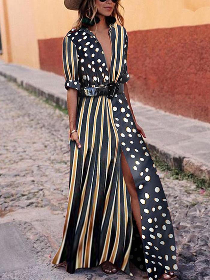 Black Striped Polka Dots Elegant Midi Dress
