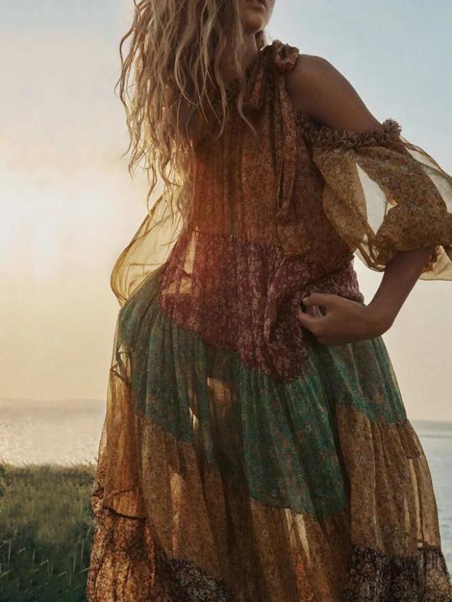 Bohemian beach holiday casual printed dress