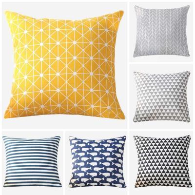 Geometry pattern Modern Simple Cushion cover Geometric Printed pillowcase Linen cotton Pillow