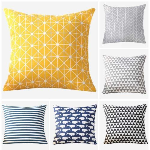 Geometry pattern Modern Simple Cushion cover Geometric Printed pillowcase Linen cotton Pillow