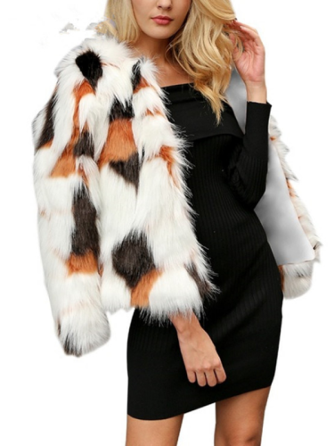 Warm Vinage Faux Fur Long Sleeve Outdoor Plain V Neck Coat
