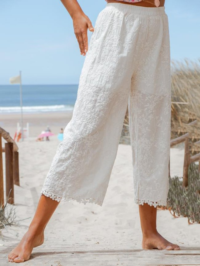 Plus Size Linen Women Summer Looose Capri Pants