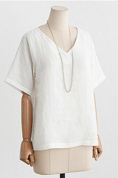 Casual  V-neck Short Sleeves Solid T-shirt
