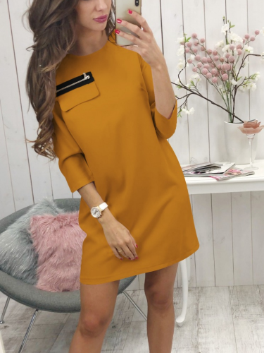 3/4 Sleeve Zipper Appliqued Round Neck Sexy Causal Dresses