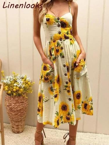 Sexy Summer Button Beach Boho Bohemian Dress