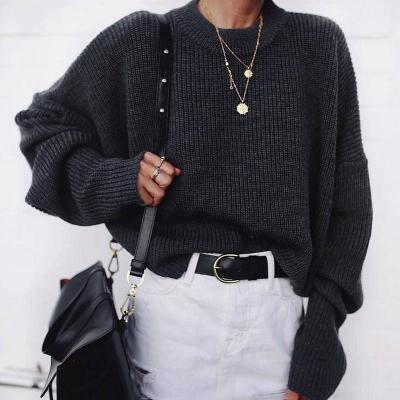 Casual Black Long Batwing Sleeves Round Neck Sweater