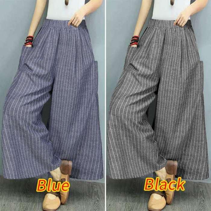 Casual Pockets Wide Leg Pants 2020 Vintage Stripe Printed Long Trousers Elastic Waist Pants