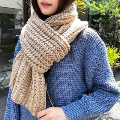 Winter Thick Warm Knitted Khaki Kadies Scarves Korean Yellow Female Knitting Scarf