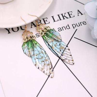 Elegant Long Butterfly Wing Bride Earrings Female Fashion Animal Earrings
