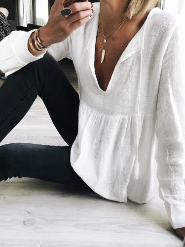 Casual  V Neck Solid Long Sleeve Tops