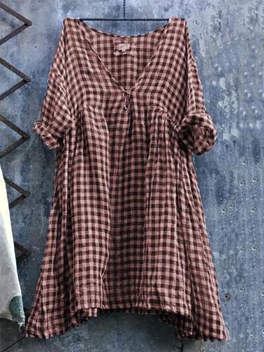 Casual V Neck 3/4 Sleeve Plus Size Lattice Bat Sleeve Dress