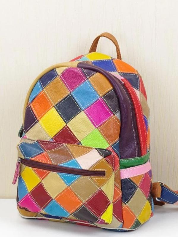 Leather stitching bohemian backpack