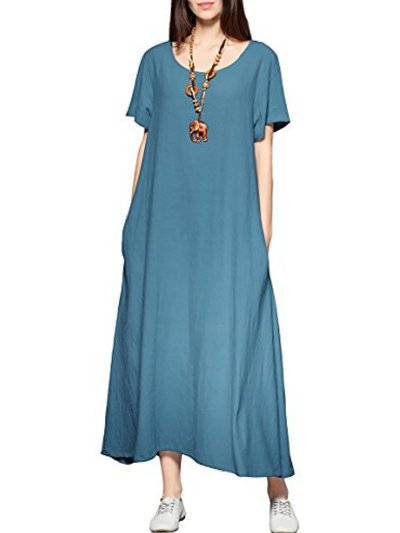 Deep Blue Basic Crew Neck Casual Dress