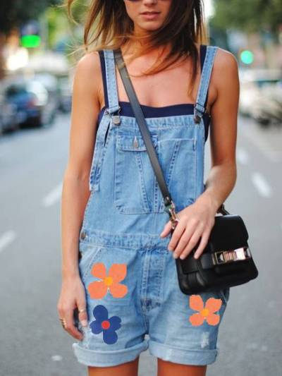 Blue Denim Casual Printed One-Pieces