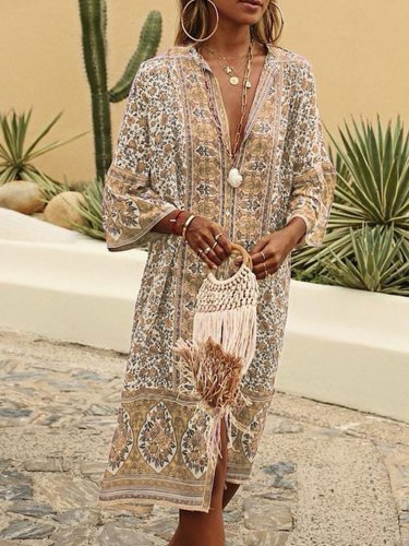 Women Vintage Boho Plus Size Summer Dresses